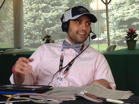 Dan speaks as a guest handicapper on Maryland Horse Radio at Pimlico Race Course on Preakness Stakes Day 2014.